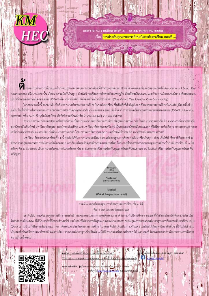 บทความ KM รายเดือน ครั้งที่ 3 ประจำเดือน พฤษภาคม 2558